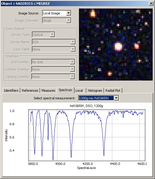 Sky Object Details - Spectral measurements